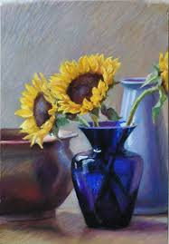 Vase Of Sunflowers Cobalt Glass Jeffrey Smith Art