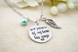 memorial gifts for loss of a of my heart has wings necklace memorial necklace