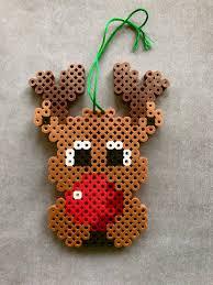 rudolph reindeer perler bead ornament christmas reindeer perler