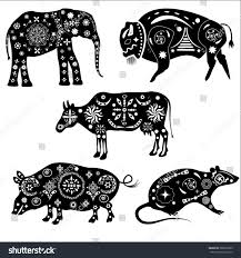 set black white silhouettes animals patterns stock vector