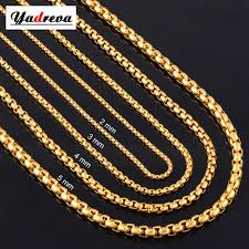 custom gold necklace 2mm 3mm 4mm 5mm stainless steel gold necklace chain waterproof