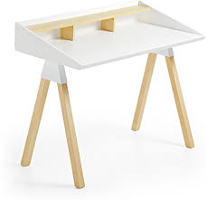 Holz Schreibtisch Laforma Schreibtisch Stick Holz Naturell Weiß La Forma
