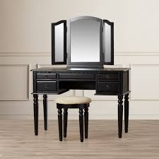 linon home decor vanity set with butterfly bench black wood