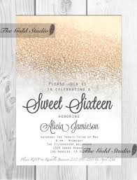 white and gold sweet 16 sixteen invitation by thegoldstudio ma