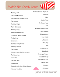 Wedding Shower Games Free Printable Match The Candy Name Bridal Shower Game