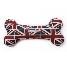 union jack squeaky dog bone toy by mutts u0026 hounds