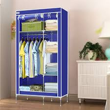 clothes cupboard finether high quality double modular metal framed fabric wardrobe