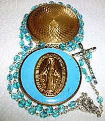 rosary cases vintage rosary box miraculous medal enamel