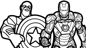 coloring page iron imposing design captain america coloring pages page free