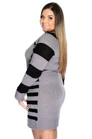 plus sweater dress charcoal black sleeve stripe plus size sweater dress