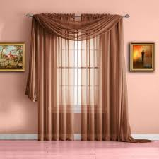 Orange And Brown Curtains Warm Home Designs Orange Rust Window Scarf Valance Sheer Rust