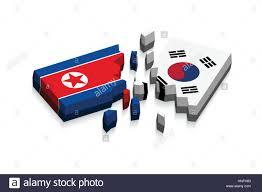 Flag Of South Korea Flag Of North Korea And South Korea 3d Damaged Flags Three