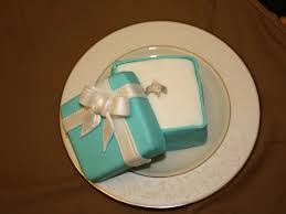 Geode Engagement Ring Box Mini Tiffany Box Cake With Open Lid And Engagement Ring