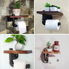 low cost industrial pipe shelf rustic toilet paper holder