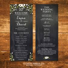 chalkboard program wedding botancial wedding program marble vintage watercolor organic
