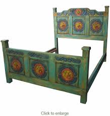 painted wood carved flower bed three sizes mexican bedroom