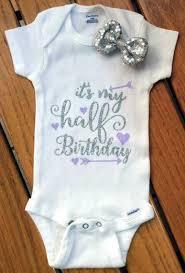 birthday onesie girl infant silver and lavender it s my half birthday onesie half
