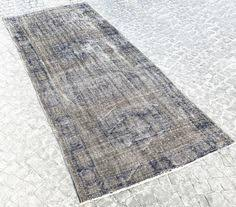 Overdyed Runner Rug Blue Oushak Rug Vintage Overdyed Carpet Traditional Distressed