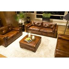Leather Sofa And Chair Sets Soho 4 Piece Rustic Brown Leather Sofa Set W Oversized Chairs