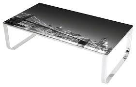 Black Glass Coffee Table Brooklyn Bridge Night Skyline View Glass Coffee Table