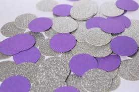 purple and silver confetti circles purple and silver party