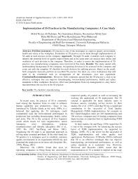 implementation of 5s practices in the manufacturing companies a