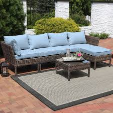 Wicker Rattan Patio Furniture - sunnydaze belgrano wicker rattan 6 piece sofa sectional patio