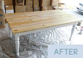Diy Farmhouse Table And Bench Beat Up Table Turned Beautiful Farmhouse Table Provident Home Design