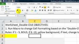 excel worksheet events 3 double click change formats based on