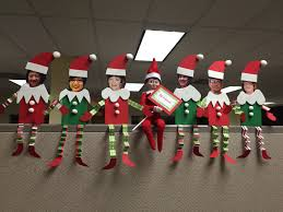 Office Christmas Door Decorating Contest Ideas Elf On The Shelf At The Office Elf Friends Christmas