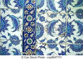Ottoman Tiles Seamless Blue Color Ottoman Tiles As Background Stock Photography