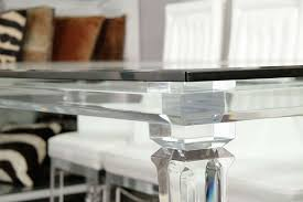 Lucite Dining Room Chairs Lucite Dining Table With Banded Legs And Glass Top For Sale At 1stdibs