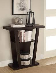 Black Entryway Table Modern Black Console Table With Graded Shelves For Books And