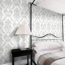 This Modern Bedroom Features Silk Silver Marble Effect by Damask Wallpaper Diy Materials Ebay