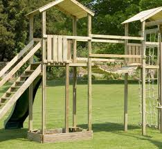 action monmouth twin towers wooden climbing frame swing arm