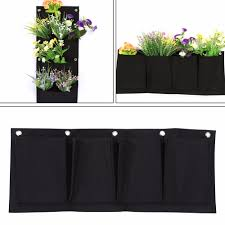 wall mounted herb garden 2017new 5pcs 4 pocket felt outdoor cross gardening flower pots and
