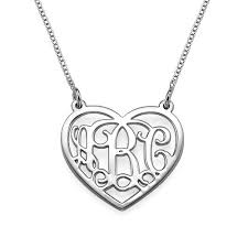 monogram sterling silver necklace sterling silver initial heart necklace