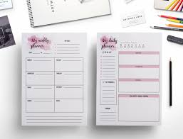 elegant weekly planner daily planner watercolor effect