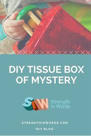 diy tissue box of mystery strength in words