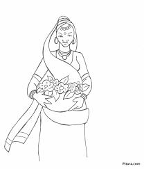 woman selling flowers u2013 coloring page pitara kids network