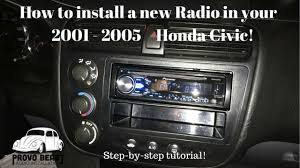 2001 2005 honda civic stereo install pioneer deh x4800bt youtube