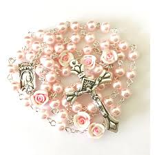pearl rosary free angel pink pearl rosary christian catholic shop