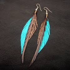 how to make feather earrings with leather feather earrings brown turquoise and sparkly bronze on