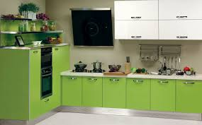 awesome l shaped lime green wooden kitchen cabinets with stainless