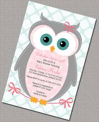 owls baby shower owl baby shower invitations girl pink gray mint girl baby