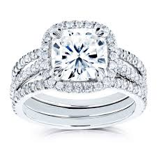 bridal rings images Cushion moissanite and diamond halo bridal rings set 2 1 2 ctw 14k jpg
