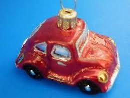 medium red vw bug beetle european handpainted glass christmas tree