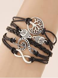 braided bracelet images Hot 2018 tree of life owl braided bracelet in black zaful jpg