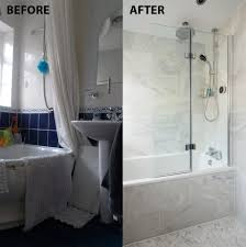 before and after from cramped and dingy to an italian marble bathroom