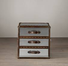 steamer trunk side table mayfair steamer trunk cube with drawers in brushed steel from